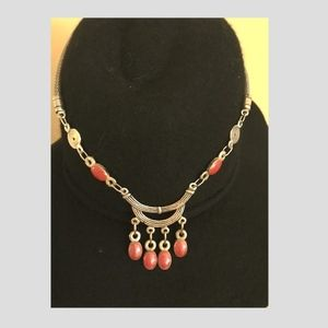 Pewter and carnelian necklace
